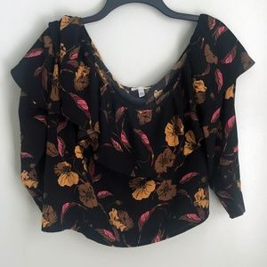 New Leith Black Yellow Floral Off Shoulder Blouse